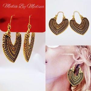💞Boho Tibetan Earrings, Antiqued Gold